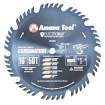 610504C, Amana Electro-Blu™ Carbide Tipped Combination Ripping and Crosscut 10 Inch Dia x 50T 4+1, 15 Deg, 5/8 Bore, Non-Stick Coated
