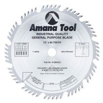 612604, Amana Carbide Tipped Combination Ripping and Crosscut 12 Inch Dia x 60T 4+1, 15 Deg, 1 Inch Bore