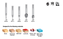 AMS-159, Amana 5-Pc Solid Carbide and Carbide Tipped 18, 30, 45, 60 & 90 Degree V-Groove Router Bit Pack, 1/4 Inch Shank