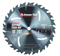 RB1020C, Amana Electro-Blu™ Carbide Tipped Euro Rip With Cooling Slots 10 Inch Dia x 20T FT, 18 Deg, 5/8 Bore, Non-Stick Coated